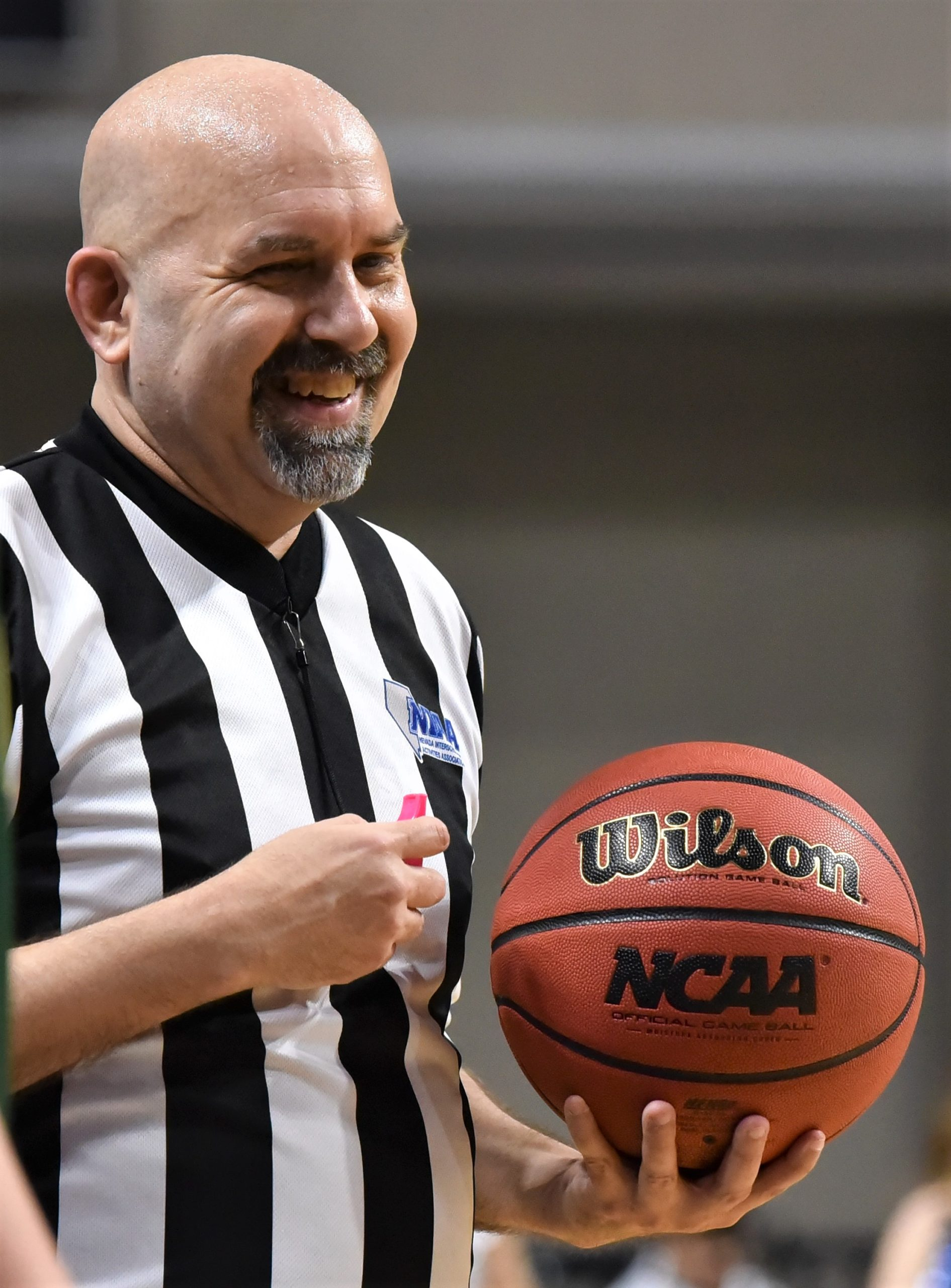 An SNOA Basketball Referee officiates a game at the South Point Arena.